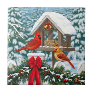 Cardinals and Christmas Bird Feeder Small Square Tile