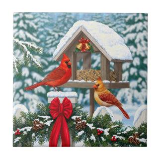 Cardinals and Christmas Bird Feeder Tile