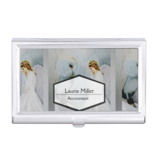Care Guardian Angel and White Owl Business Card Holder