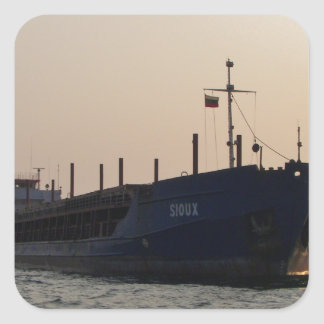 Cargo Ship Sioux Square Sticker