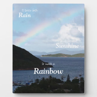 Caribbean Islands with Rainbow and Sunny Clouds Plaque