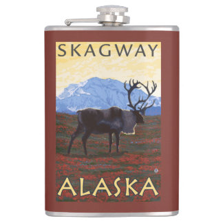 Caribou Scene - Skagway, Alaska Hip Flask