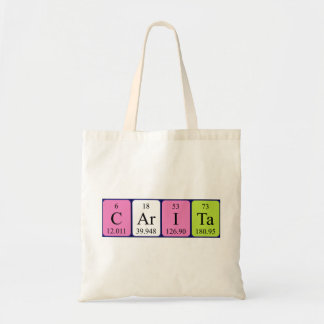 Carita periodic table name tote bag