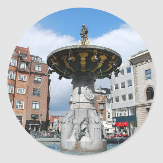 Caritas Well Fountain Copenhagen Denmark Classic Round Sticker