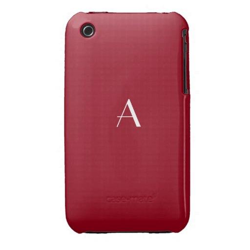 Carmine Red iPhone 3G/3GS Cases w/ Monogram iPhone 3 Cover
