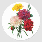 Carnation and Marigold Bouquet by Redoute Classic Round Sticker