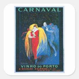 Carnaval Vinho Do Porto Vintage Wine Ad Art Square Sticker