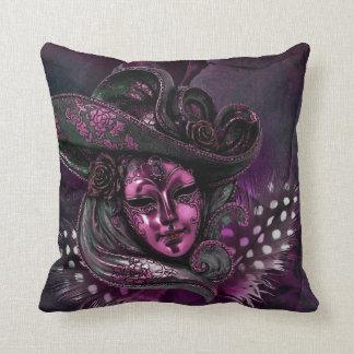 Carnival Mask-Pink Damask Throw Pillow
