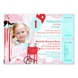 Carnival Pink 2 13 Cm X 18 Cm Invitation Card