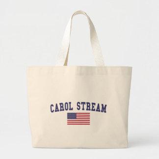 Carol Stream US Flag Large Tote Bag