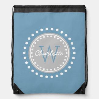 Carolina Blue and Ash Grey Polka Dot Monogram Drawstring Bag