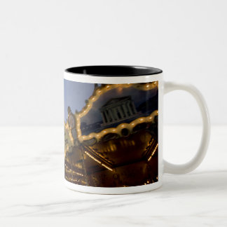 Carousel by the Eiffel Tower in the evening, Two-Tone Coffee Mug