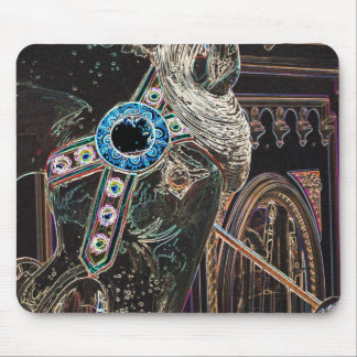 Carousel Horse Black Charger Mouse Pad