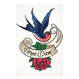 Carpe Diem Bluebird Tattoo Stationery