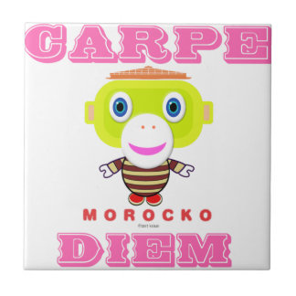 Carpe Diem-Cute Monkey-Morocko Tile