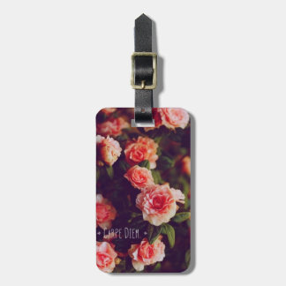 Carpe Diem Floral Luggage Tag