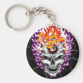 Carpe Diem Skull Keychain