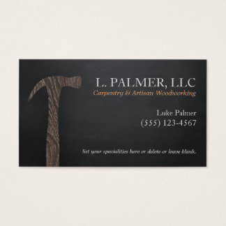 Carpenter Wood Hammer Logo Carpentry Business Card