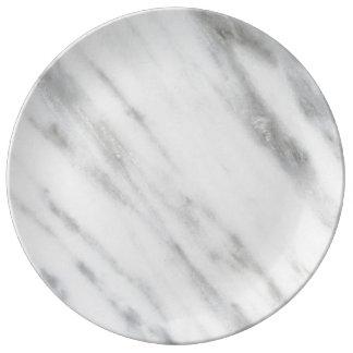 Carrara Marble Texture Porcelain Plate