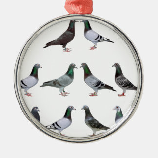Carrier pigeons champions Silver-Colored round decoration