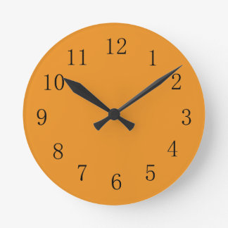 Carrot Orange Color Kitchen Wall Clock