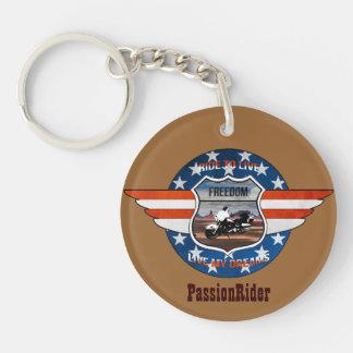 Carry key PassionRider Double-Sided Round Acrylic Key Ring
