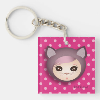 """Carry-key """"Pink Kitty"""" - collection Kiwi Fraud Single-Sided Square Acrylic Key Ring"""