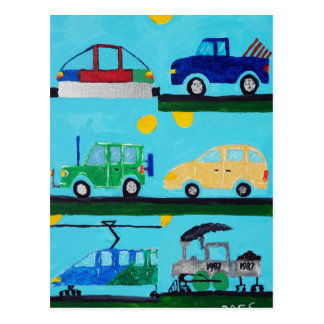 Cars, Trucks and Trains by William Postcard