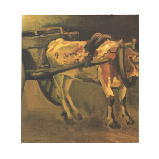 Cart with Red and White Ox by Vincent van Gogh Notepad