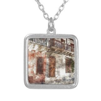 Cartagena Colombia Watercolor Artwork Silver Plated Necklace