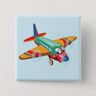 cartoon airplane 15 cm square badge