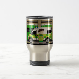 Cartoon Ambulance and EMT Travel Mug