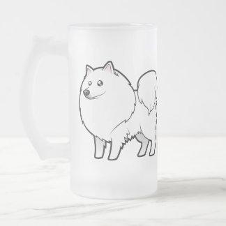 Cartoon American Eskimo Dog / German Spitz Frosted Glass Mug