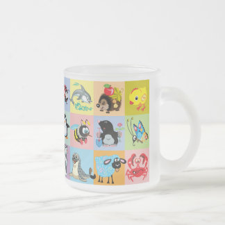 cartoon animals for kids frosted glass coffee mug