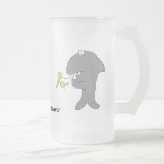Cartoon Baby Shark With Veggies Frosted Glass Beer Mug