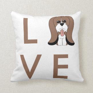 Cartoon Basset Hound Love Dog Pillow