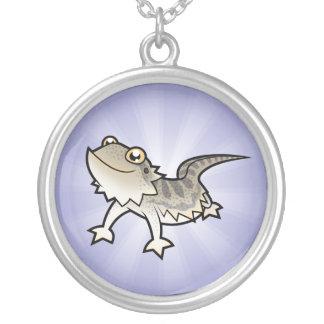Cartoon Bearded Dragon / Rankin Dragon Round Pendant Necklace