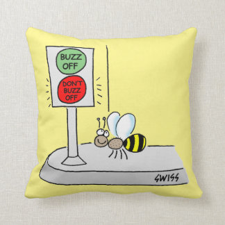 Cartoon Bee Crossing at Light Kids Nursery Throw Pillow