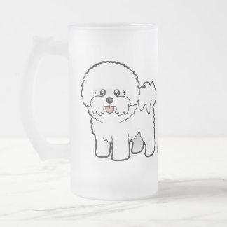 Cartoon Bichon Frise Frosted Glass Mug