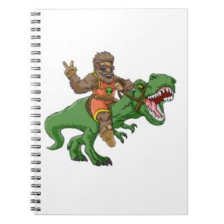 cartoon bigfoot-cartoon t rex-T rex bigfoot Notebooks