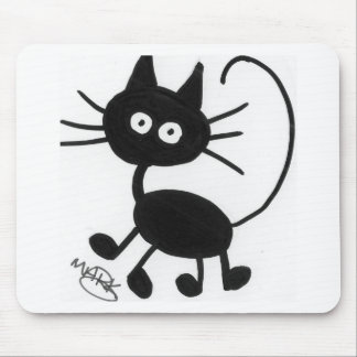 Cartoon Black Cat Mouse Pad