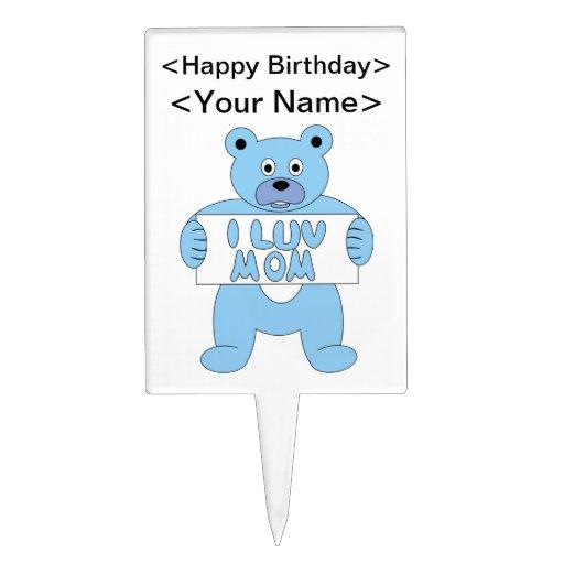 Cartoon Blue Bear I Luv Mom (I Love Mom) Cake Pick