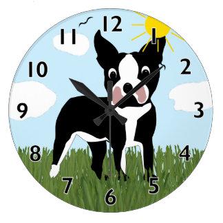 Cartoon Boston Terrier Clock