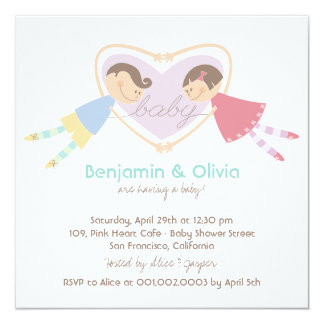 Cartoon Boy Girl Purple Heart Couples Baby Shower Personalized Announcement