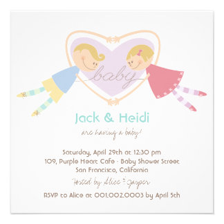 Cartoon Boy Girl Purple Heart Couples Baby Shower Announcements