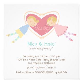 Cartoon Boy Hearts Girl Love Couples Baby Shower Custom Invite