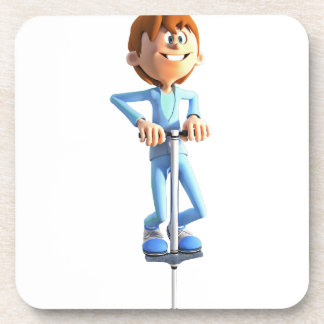 Cartoon Boy on a Pogo Stick Coasters