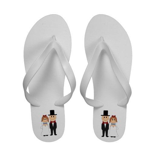 Cartoon Bride & Groom Flip-Flops