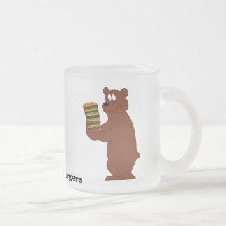 Cartoon Brown Bear With Huge Hamburger 10 Oz Frosted Glass Coffee Mug