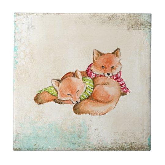 Cartoon brown fox couple small square tile